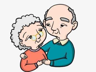 卡通老人手绘卡通老年人夫妻 夫妻老人卡通图片