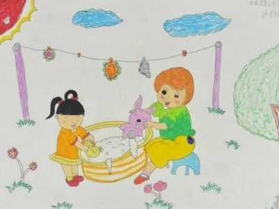有关感恩母亲节题材儿童画作品 有关遵守时间的儿童画