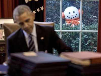 白宫工作人员搞恶作剧吓唬奥巴马 奥巴马恶搞图片