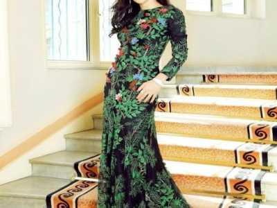 女神李冰冰穿绿色树叶连衣长裙 绿色连衣长裙